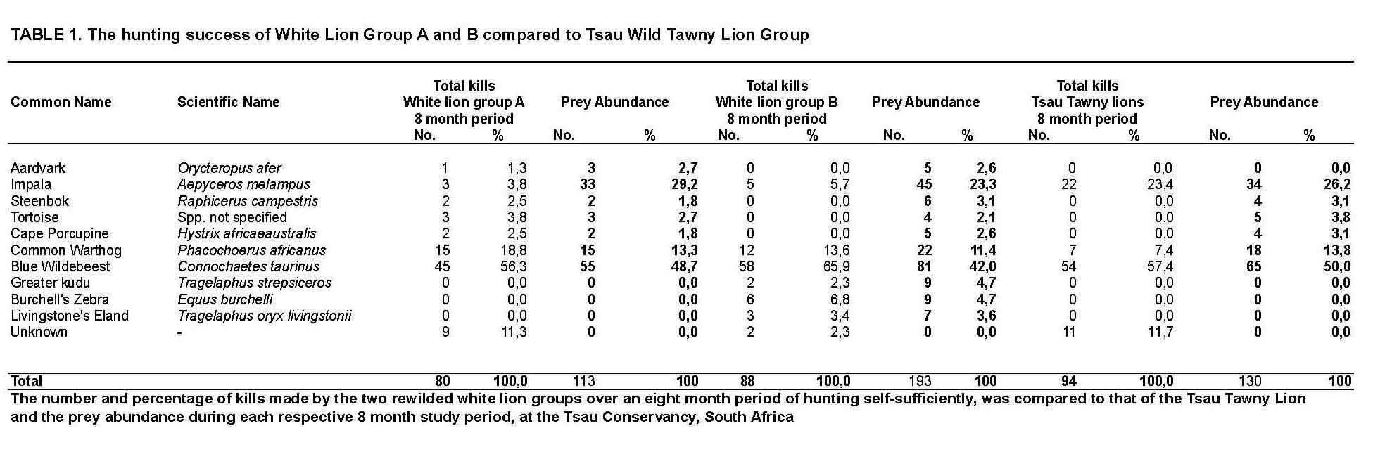 The hunting success of White Lion Group A and B compared to Tsau Wild Tawny Lion Group
