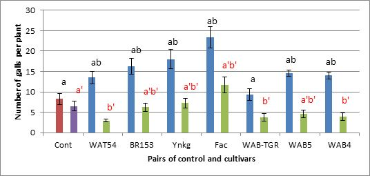 Fig. 6. Comparison between results of infection test of a batch of 7 cultivars, at 28°C and 22°C/15°C